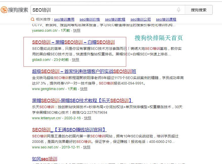 """关键词""""SEO培训""""搜狗首页排名"""